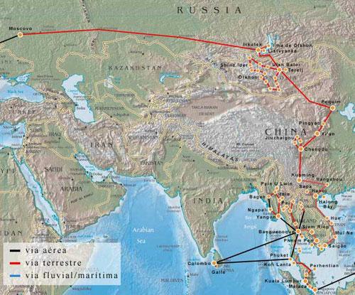 Kelionių maršrutas visame pasaulyje - Europoje ir Azijoje
