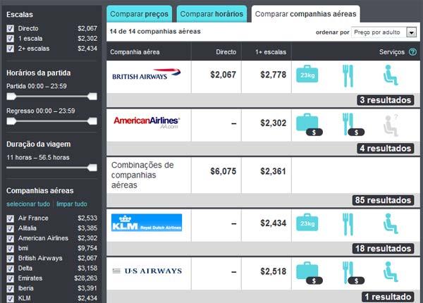 Comparação de companhias aéreas