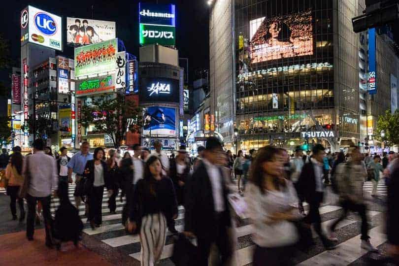 Cruzamento na estação de metro de Shibuya.