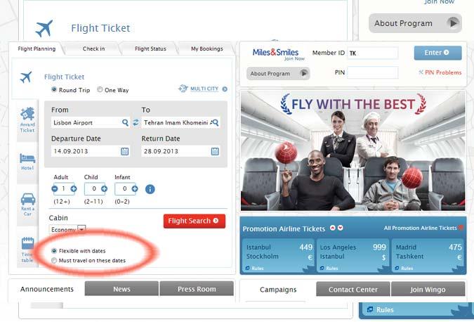 Datas flexíveis para encontrar os melhores voos
