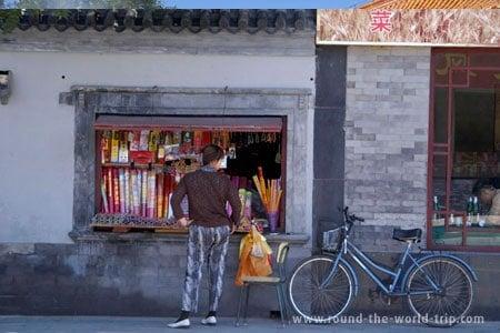 Loja de venda de incensos nas proximidades do Templo Lama, Pequim