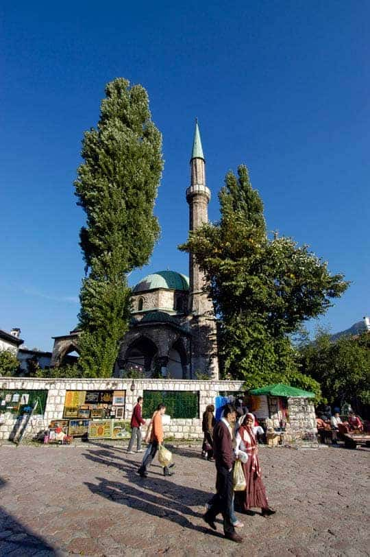 A praça da fonte de Sarajevo