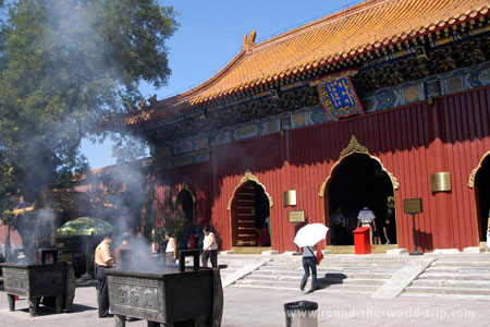 Queima de incensos no Templo Lama, Pequim