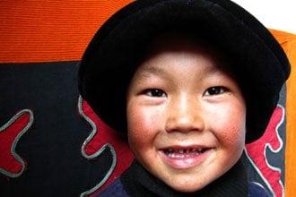 Uma criança no Quirguistão