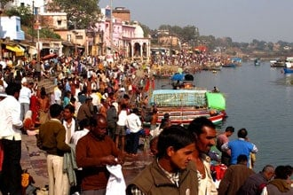 Dia de festa em Chitrakut, Índia