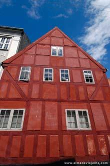 Fachada no centro histórico de Aarhus