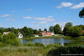 Paisagem rural na aldeia de Agri, próximo de Aarhus