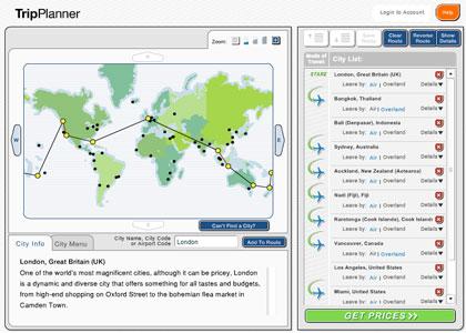 Planear o itinerário no TripPlanner da Airtreks