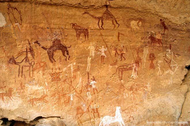Pinturas rupestres nos montes Akakus, Líbia