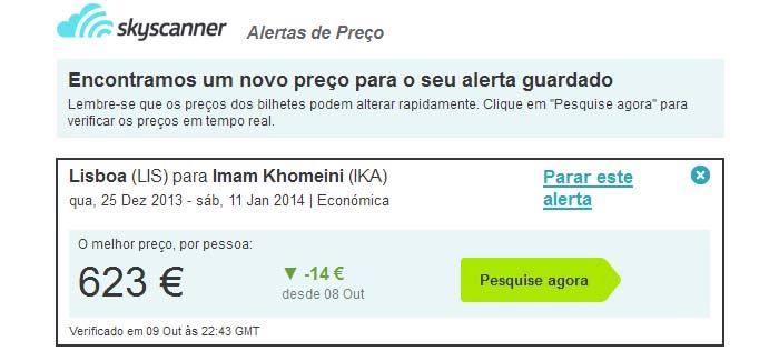 Alerta de preços no Skyscanner