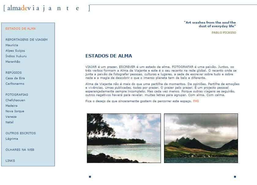 Página inicial do Alma de Viajante, em 2001