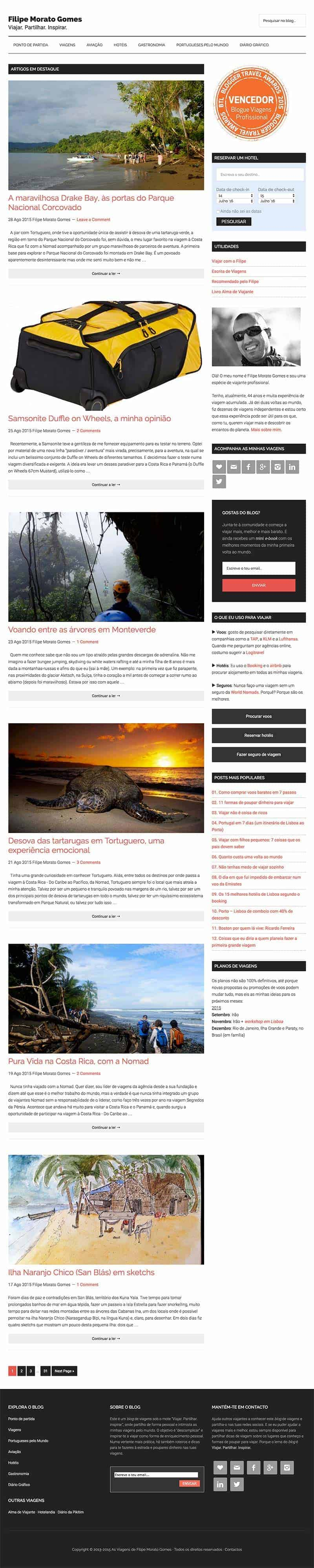 Homepage do blog As Viagens de Filipe Morato Gomes