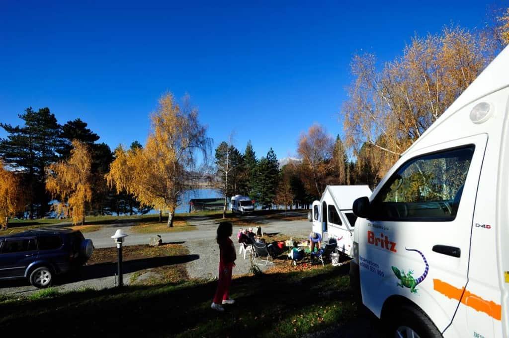 Parque de autocaravana lago Tekapo, Nova Zelândia