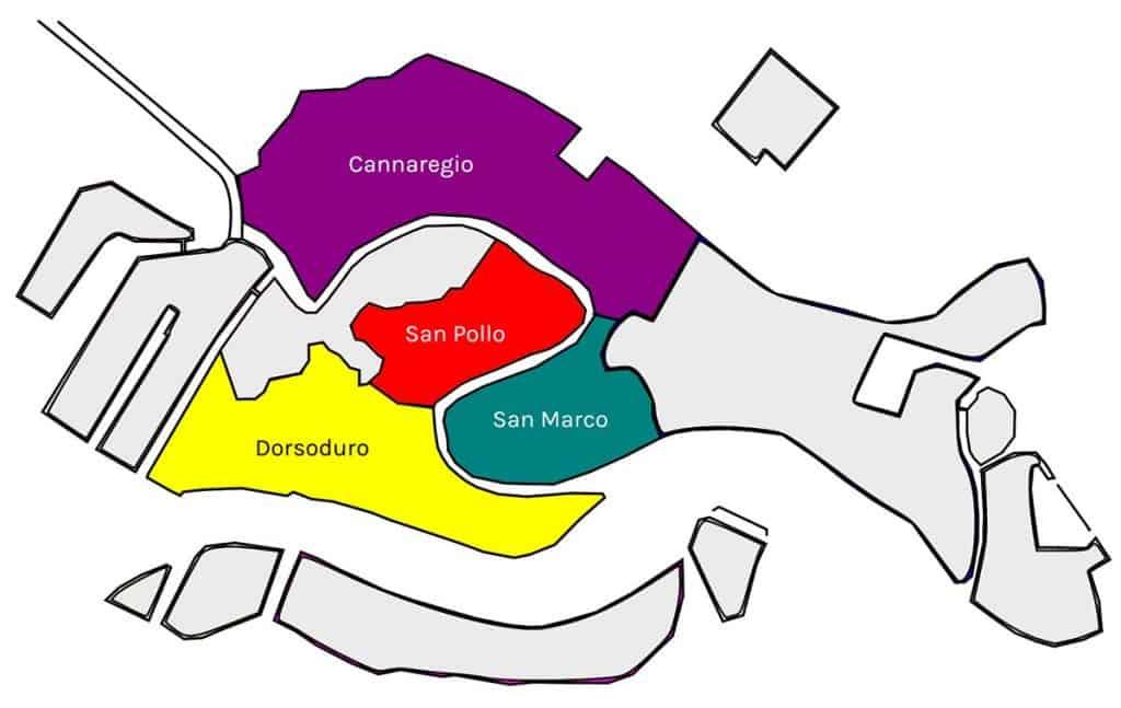 Mapa dos bairros de Veneza
