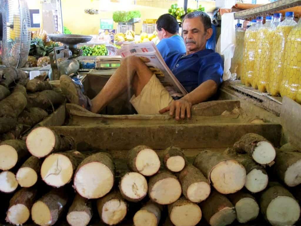 Mandioca à venda num mercado