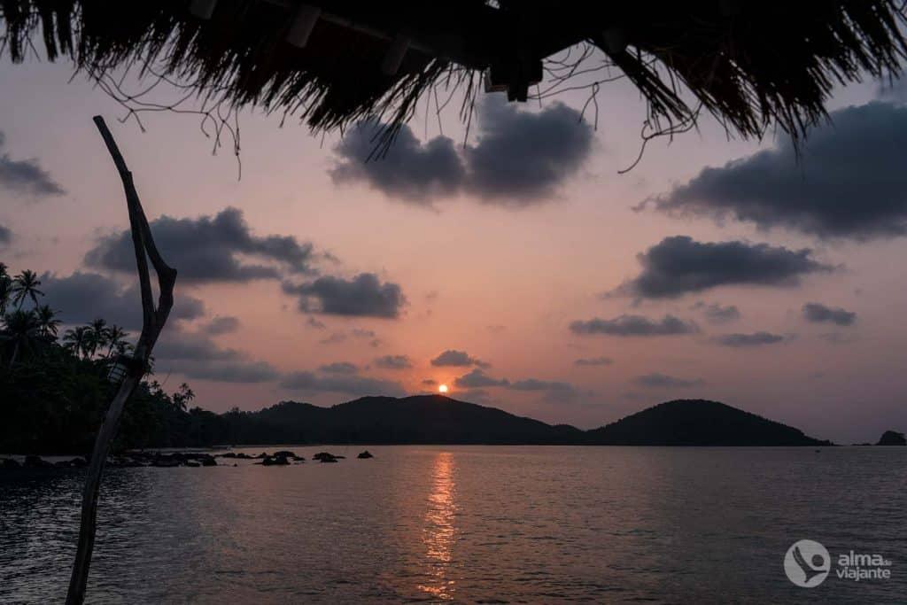 Pôr-do-sol em Koh Mak, Golfo da Tailândia
