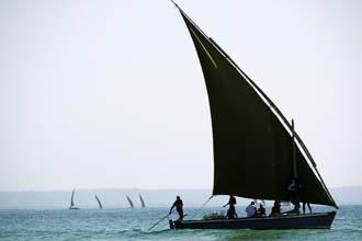 Barco típico ao largo da praia da Barra