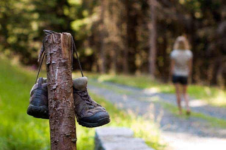 Botas de trekking usadas