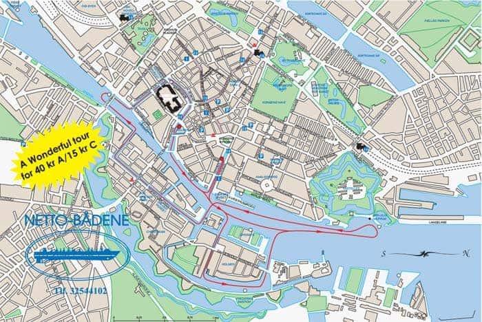 Mapa do passeio pelos canais de Copenhaga