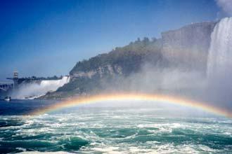 Arco-íris com as cataratas do Niagara em pano de fundo