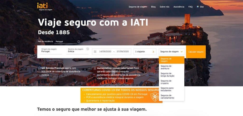 Seguro IATI: Inserir os dados da viagem