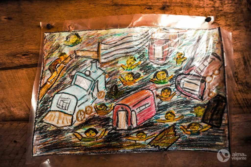 Desenho do tsunami
