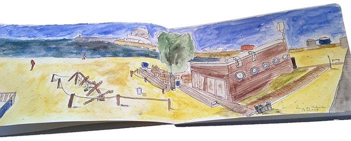 Terceiro sketch, um desafio mais arrojado: praia de Matosinhos e café Lais de Guia