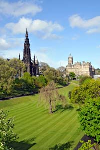 Jardim no centro de Edimburgo