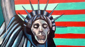 O que resta dos murais pintados na antiga Embaixada dos Estados Unidos da América em Teerão