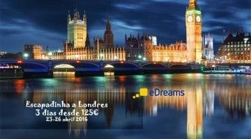 Promoção exclusiva: voo + 3 noites em Londres desde 125€ (23 a 26 abril)