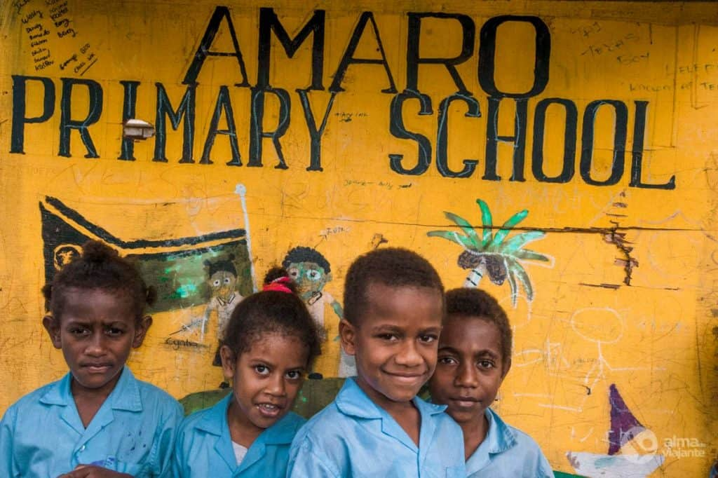 Escola na ilha Lelepa