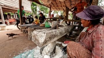 A fábrica de noodles de arroz, em Siem Reap