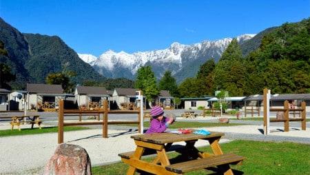 Melhores parques para autocaravas na Nova Zelândia: Fox Glacier Holiday Park