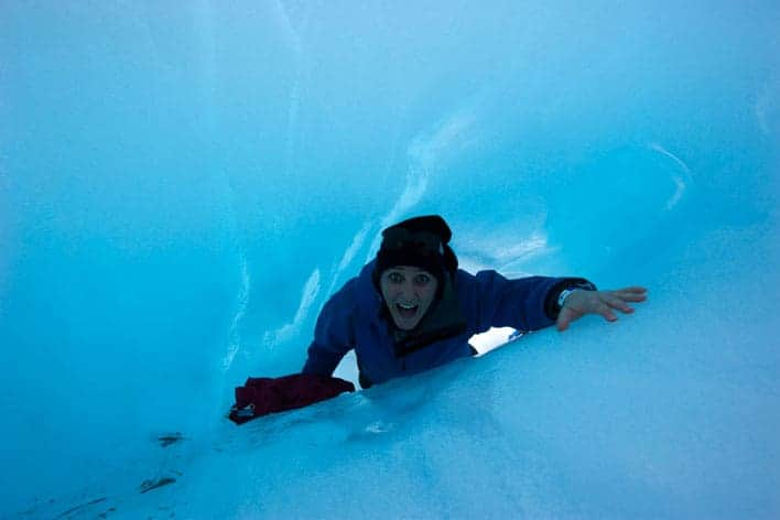 Turista no Glaciar Franz Josef