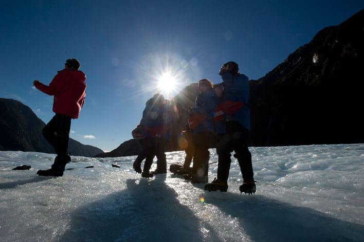 Turistas no Glaciar Franz Josef