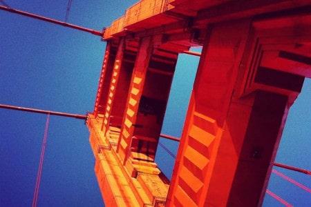 Perspetiva da Golden Gate Bridge, ícone de São Francisco