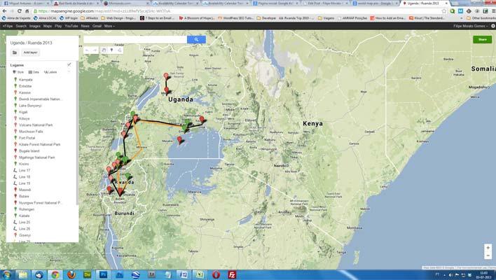 Planear uma viagem: google maps