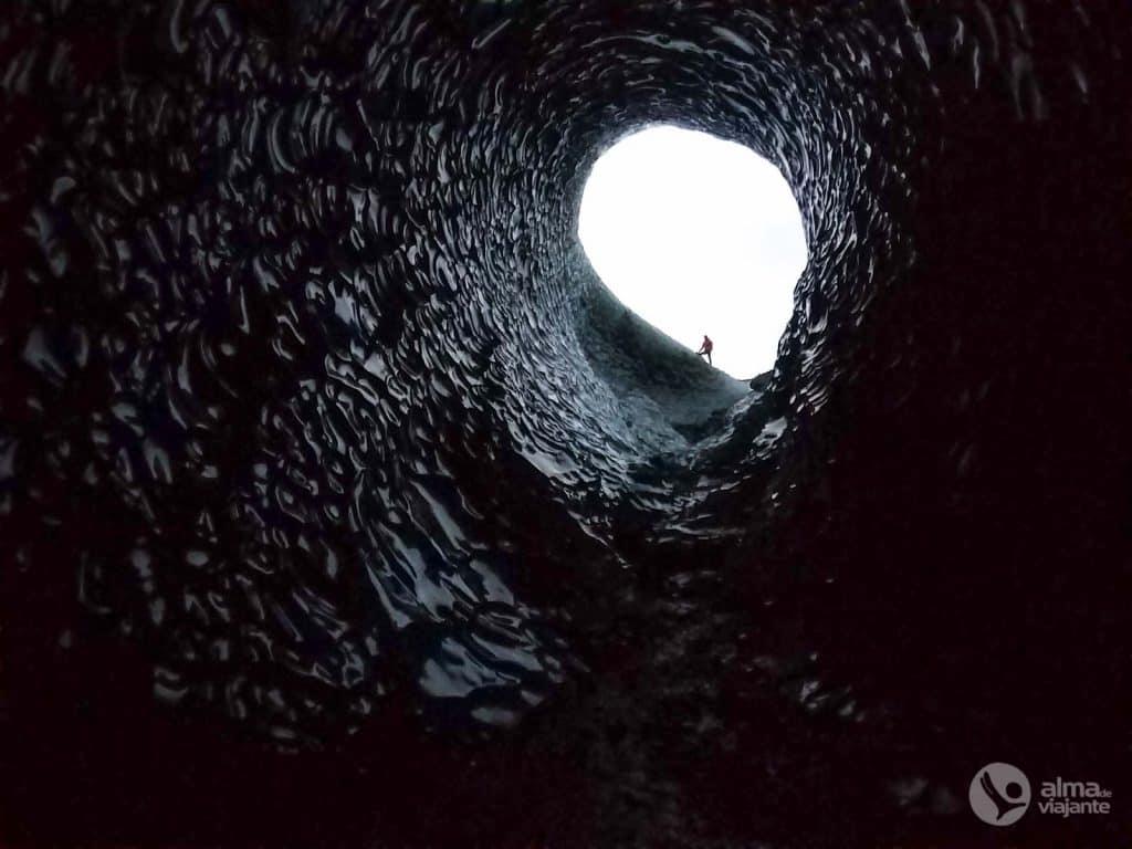 Fotografar com celular: Gruta de gelo negro