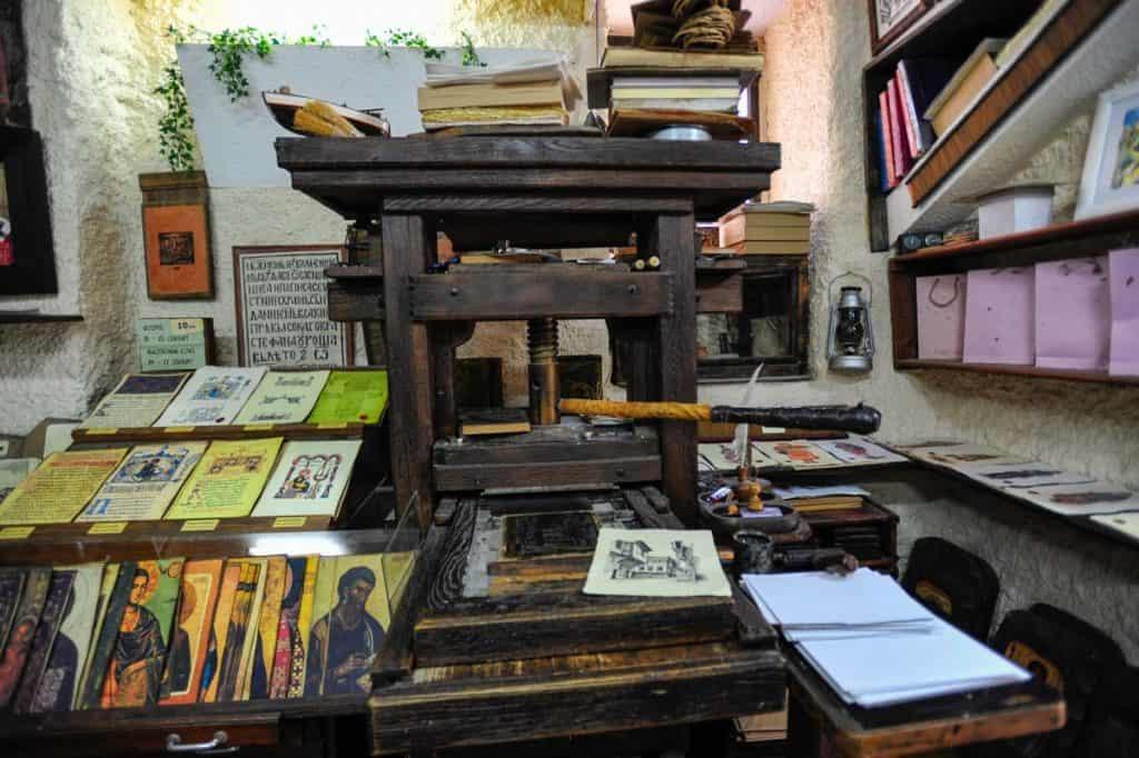 Prensa de tipos móveis inventada por Johannes Gutenberg