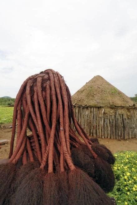 Pormenor do cabelo de uma mulher Himba