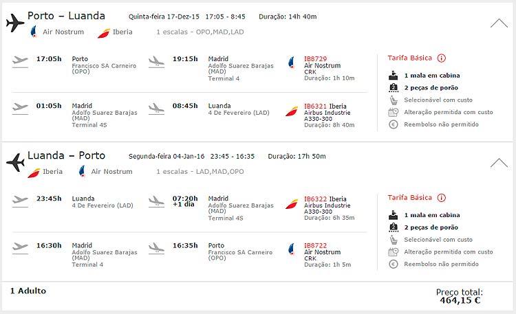 Iberia promoção Porto - Luanda