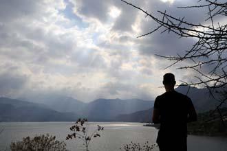 Lago de Atitlán ao entardecer