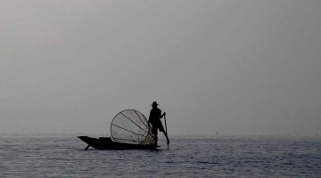 Fiskimaður á Inle Lake, Mjanmar