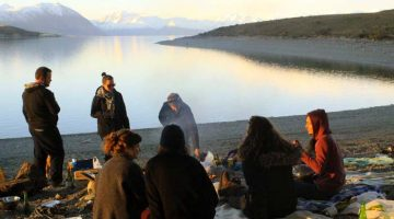 Patricia and friends on the shores of Lake Tekapo