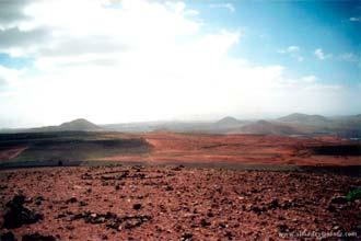 Paisagem do interior de Lanzarote, ilhas Canárias