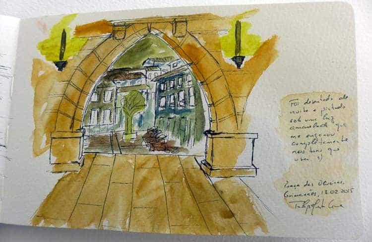 O meu desenho feito no Largo da Oliveira, Guimarães
