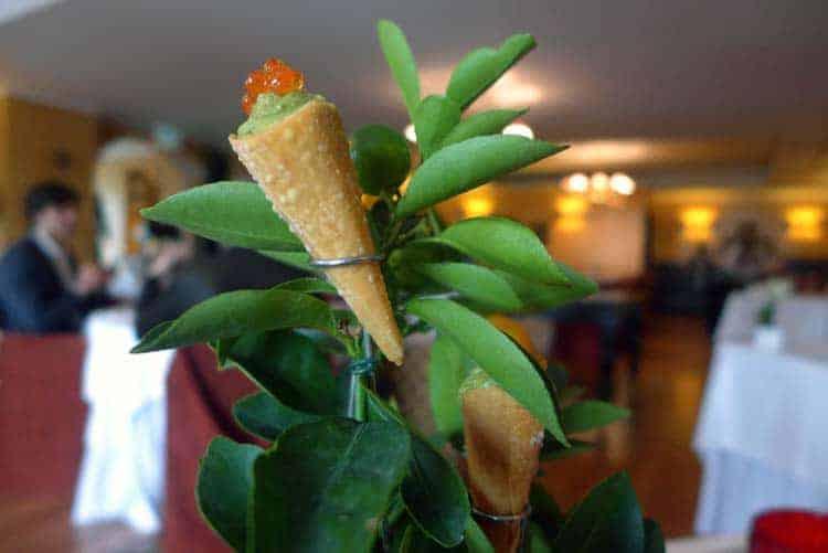 Cones de ceviche de salmão com citrinos, guacamole e ovas de truta