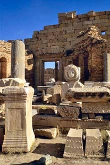 Rómar rústir Leptis Magna, Líbýu