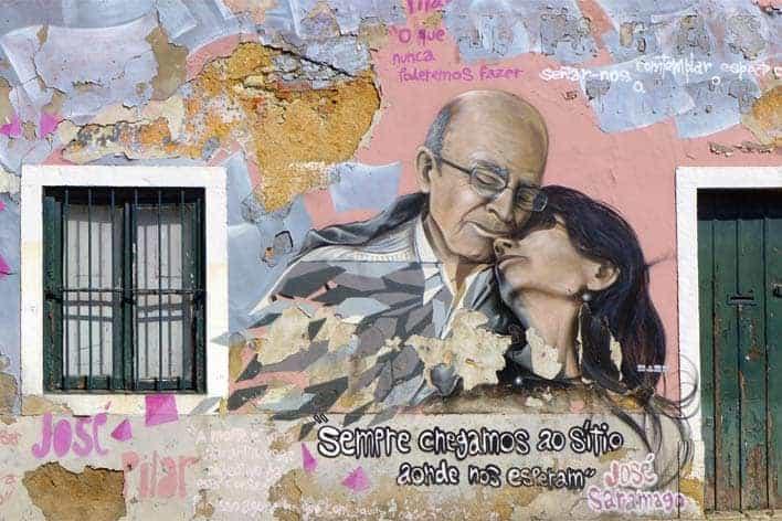 Mural sobre José Saramago