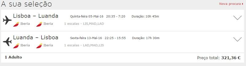 Simulação de voos Lisboa - Luanda no mês de maio